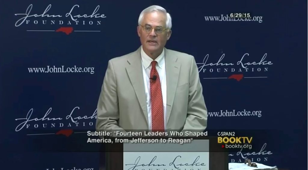 "Author Garland Tucker discusses his book ""Conservative Heroes"" during a June 2015 presentation to the John Locke Foundation. Image courtesy of C-SPAN."