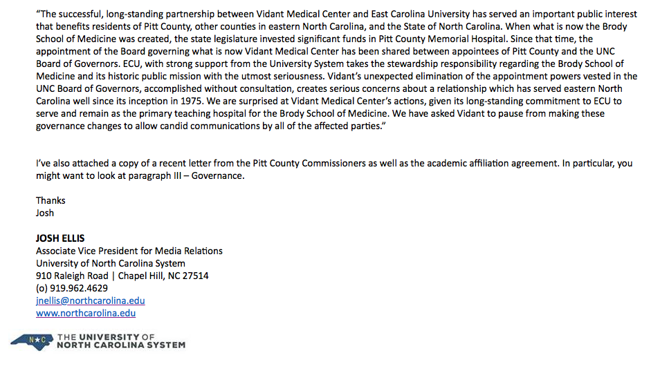 Pitt County, Vidant Medical Center move to end UNC oversight