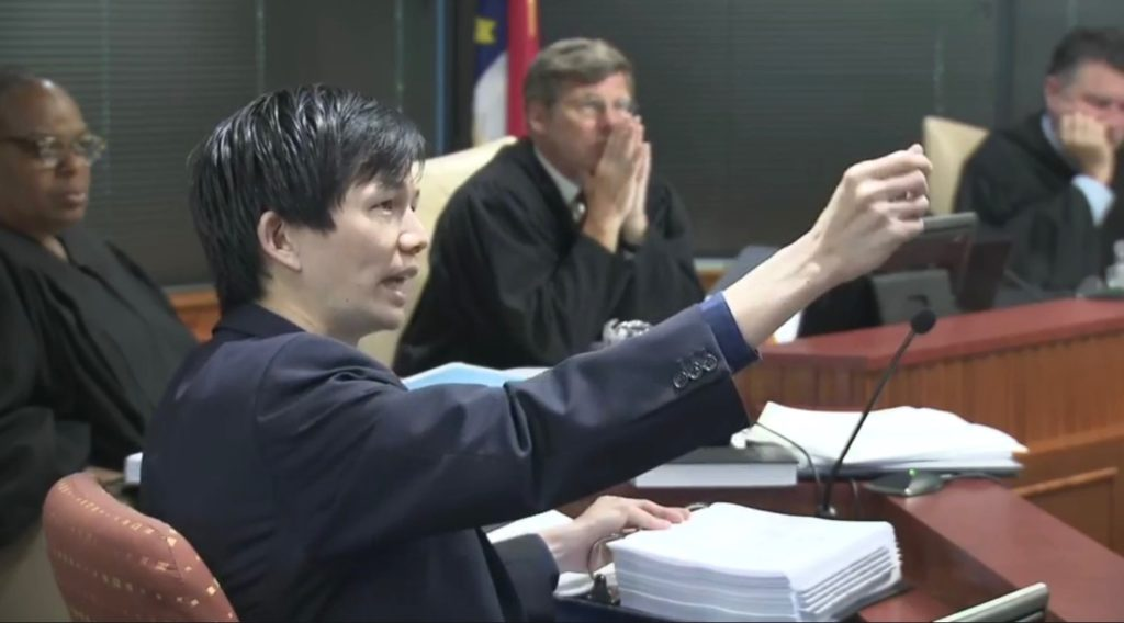 Jowei Chen, University of Michigan political scientist, testifies July 16, 2019, during the Common Cause v. Lewis gerrymandering lawsuit. (WRAL TV feed screenshot)
