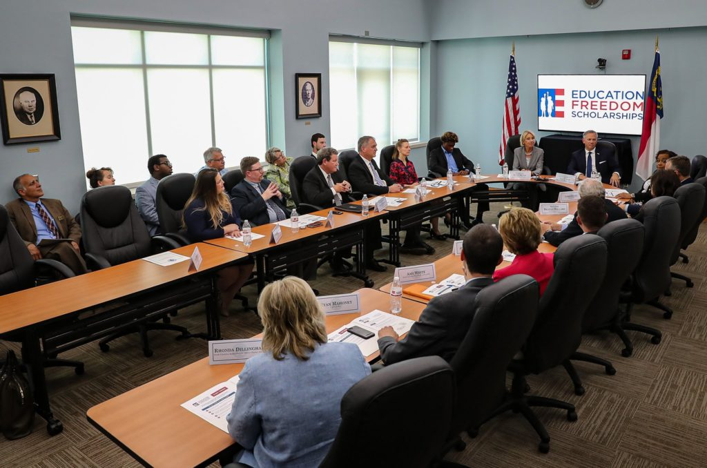 Education Secretary Betsy DeVos and Lt. Gov. Dan Forest lead a July 17, 2019, roundtable discussion in Raleigh on Education Freedom Scholarships. (Photo from Dan Forest Twitter account)