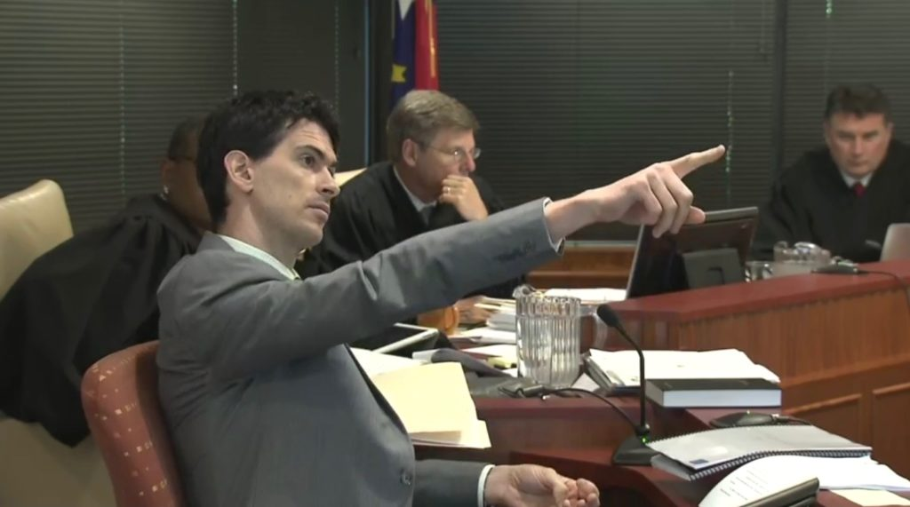 Wesley Pegden, Carnegie Mellon math professor, testifies July 22, 2019, during the Common Cause v. Lewis partisan gerrymandering trial. (WRAL.com screen shot)