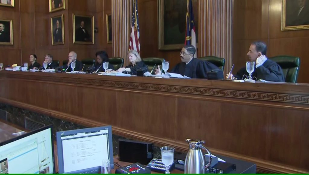 The N.C. Supreme Court hears oral arguments on Aug. 27, 2019. (WRAL.com screenshot)