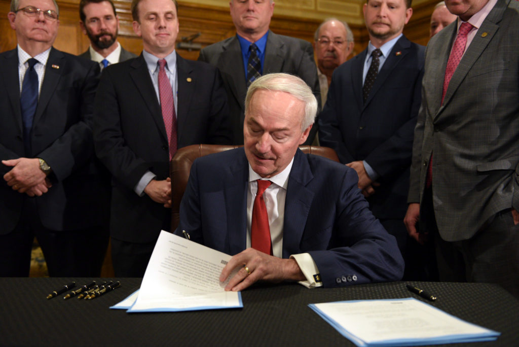 Republican Gov. Asa Hutchinson persuaded Arkansas legislators not to slash an additional year of Medicaid expansion even though a court struck down the state's work requirement. (Photo courtesy of the Office of the Governor of Arkansas)