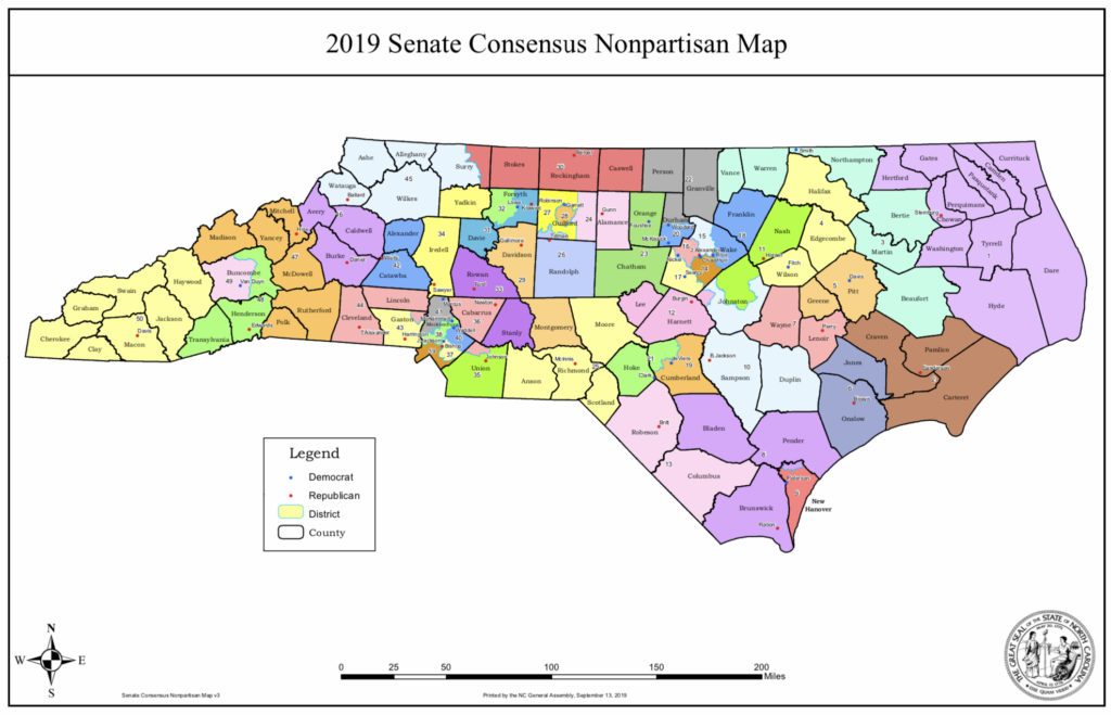 Senate district map passed Sept. 16, 2019  (NCGA graphic)