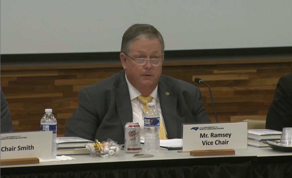 Randy Ramsey, named chairman of the UNC System Board of Governors Oct. 1, 2019, speaks during the BOG's Sept. 20, meeting. (Screenshot from UNC TV feed)