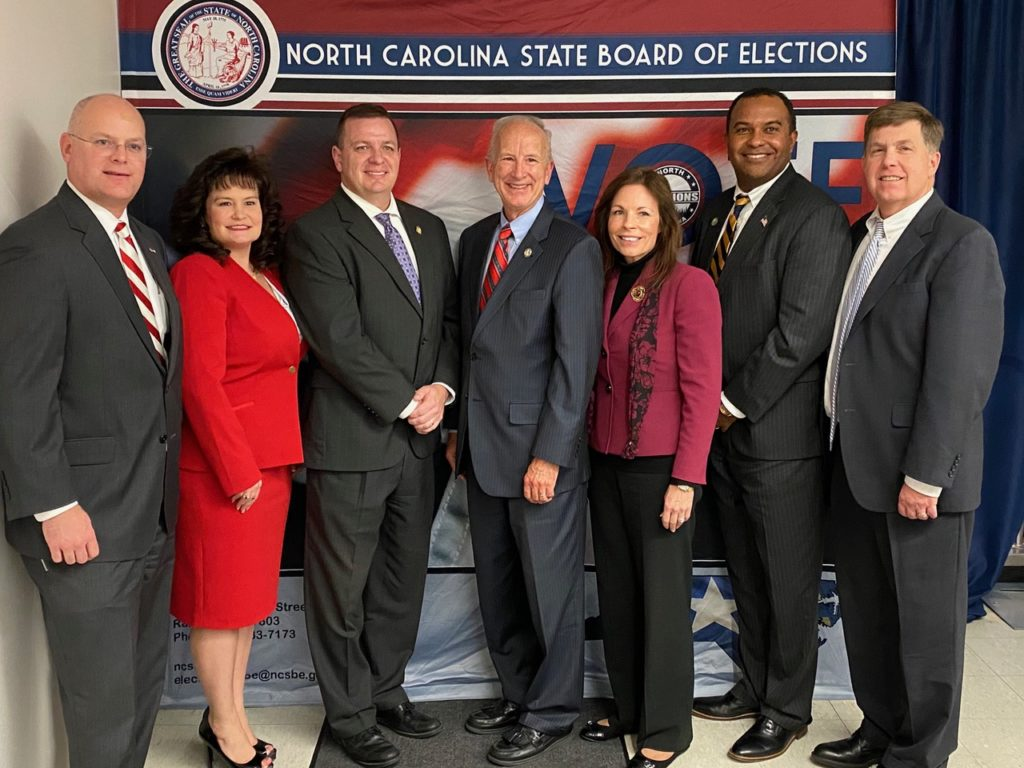 Republican candidates for 2020 judicial races ran as a ticket. At least seven of eight won. From left, incoming Appeals Court Judges Jeff Carpenter and April Wood; Supreme Court Justice-elect Phil Berger Jr.; N.C. Supreme Court Associate Justice Paul Newby, who leads in his run for chief justice; Supreme Court Justice-elect Tamara Barringer; Appeals Court Judge-elect Fred Gore and Judge Chris Dillion. Not pictured: Appeals Court Judge-elect Jefferson Griffin. (Photo provided by Judge April Wood)