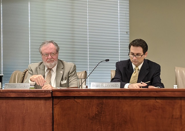 Tommy Tucker and Brian P. LiVecchi during a meeting of the the N.C. Rules Review Commission on Thursday, Jan. 16.