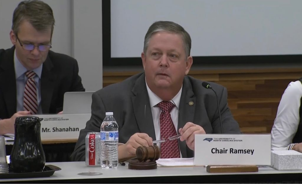 Chairman Randy Ramsey of the University of North Carolina System Board of Governors speaks during the Jan. 17, 2020, BOG meeting. (UNC-TV screen shot)