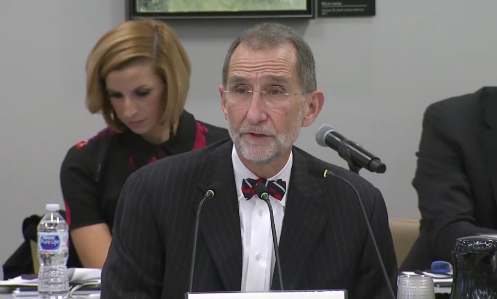 Dr. William Roper, interim president of the University of North Carolina System, addresses the UNC Board of Governors on Jan. 17, 2020. (UNC-TV screen shot)