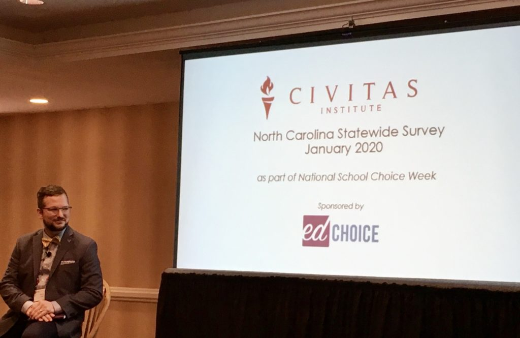 Drew Catt, director of state research and special projects at EdChoice, shared his thoughts on Civitas Institute's latest poll on school choice. (CJ photo by Lindsay Marchello)