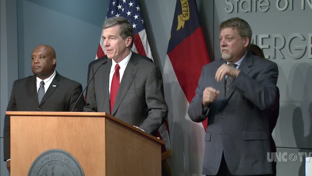 Gov. Roy Cooper speaks at a March 12 news briefing on the coronavirus. (Screenshot from UNC TV)