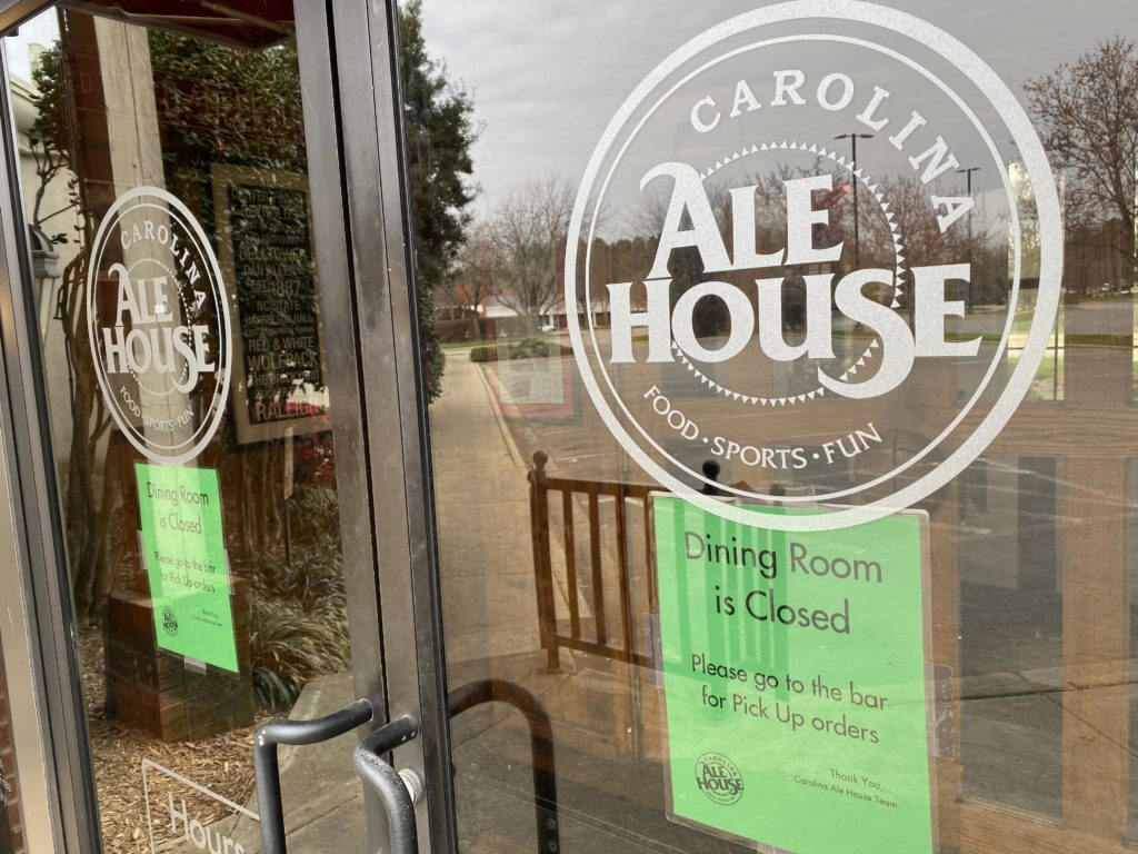 The <a href= https://www.restaurantji.com/nc/raleigh/carolina-ale-house-/>Carolina Ale House</a> at 4512 Falls of Neuse Road in Raleigh was one of hundreds of restaurants which had to halt dining service with little warning at 5 p.m. on St. Patrick's Day. (CJ photo by Don Carrington)
