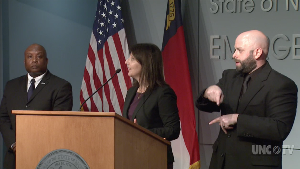 N.C. Department of Health and Human Services Secretary Dr. Mandy Cohen at a news briefing Tuesday, March 17, 2020. (Screenshot from UNC-TV)