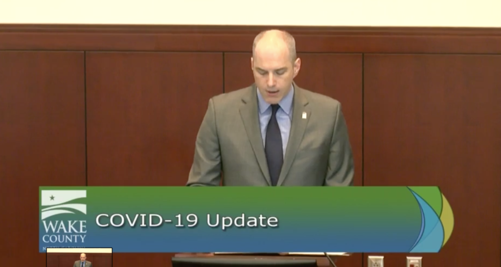Greg Ford, chairman of the Wake County Board of Commissioners, announces a stay at home order at a March 26 news conference. (Screenshot from Wake County video feed)