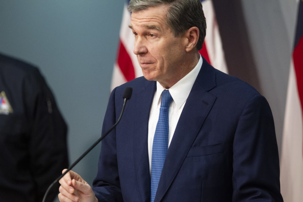 Gov. Roy Cooper speaks at a Coronavirus Task Force briefing April 3, 2020. (Pool photo from Department of Public Safety)