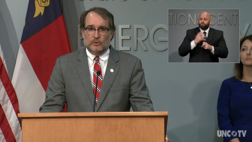 Assistant Employment Security Secretary Lockhart Taylor addresses a COVID-19 briefing Thursday, April 2. (Screenshot from UNC-TV)