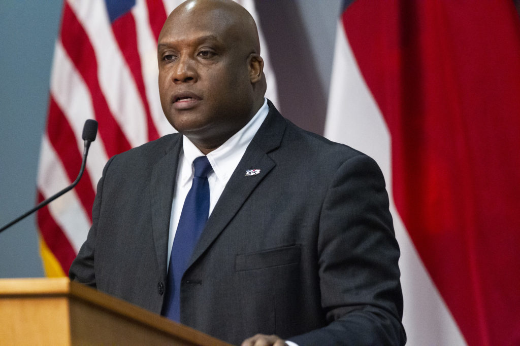 Erik Hooks, N.C. secretary of public safety, at a April 13 news conference. (Pool photo from UNC-TV)