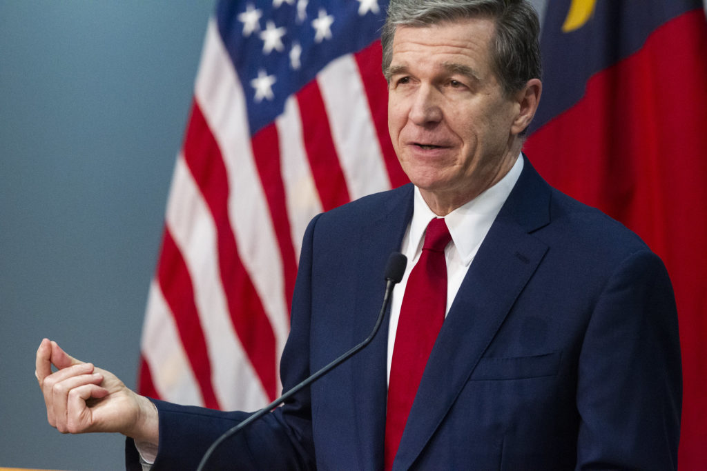 Gov. Roy Cooper at an April 17, 2020, COVID-19 briefing. (Pool photo)