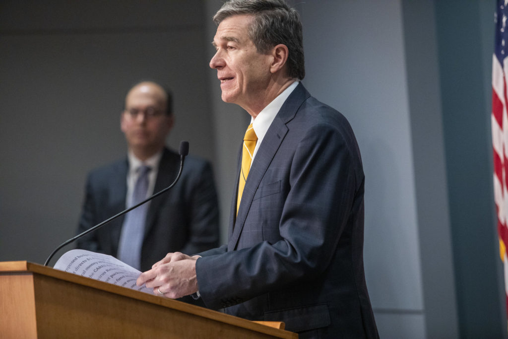 Gov. Roy Cooper, at an April 24 COVID-19 briefing. (Pool photo)