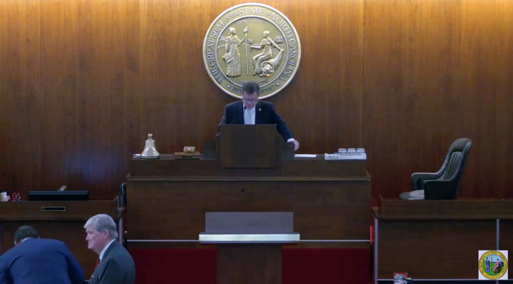 House Speaker Tim Moore, R-Cleveland, presides over the first live video stream of the N.C. House, April 28, 2020. (Screenshot from YouTube)