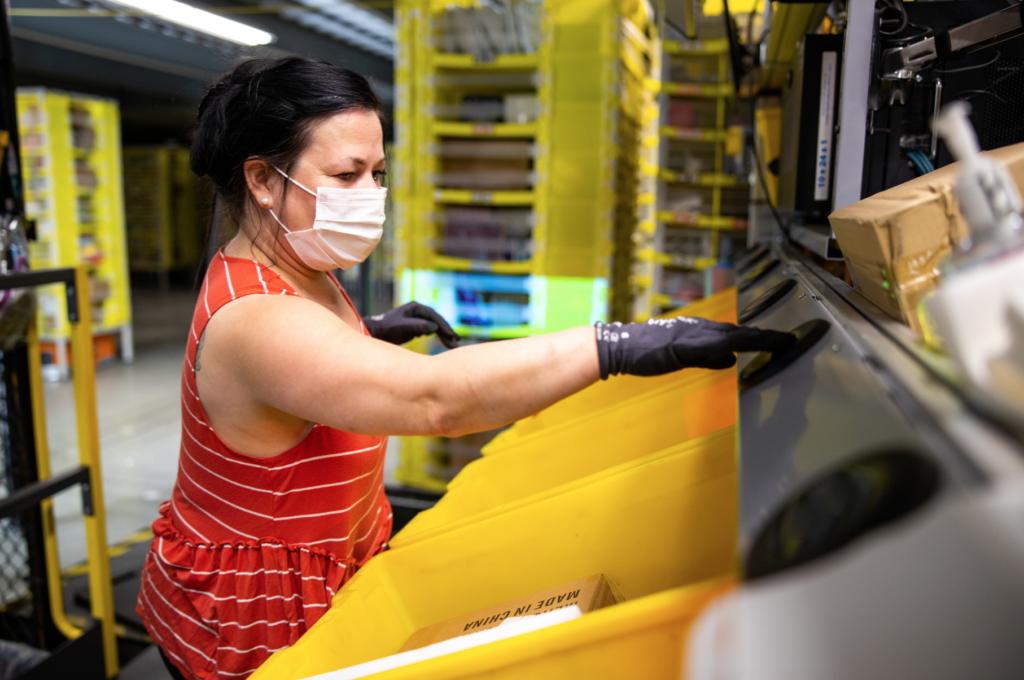 Warehouse worker wearing PPE (Photo courtesy Amazon.com)