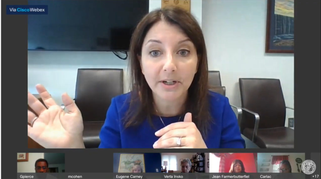 Dr. Mandy Cohen, N.C. Health and Human Services secretary, answers questions remotely during a June 17, 2020, N.C. House Health Committee hearing. (Screen shot from ncleg.gov YouTube channel)