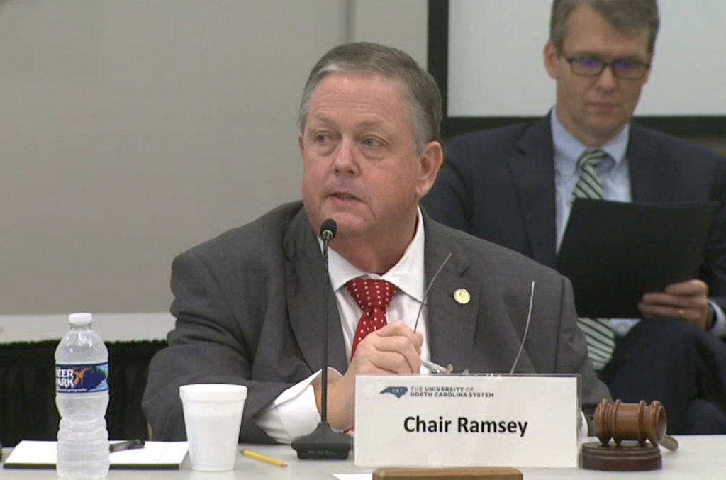 Randy Ramsey chairs the June 19, 2020, meeting of the UNC System Board of Governors. (Screen shot from UNC-TV live stream)