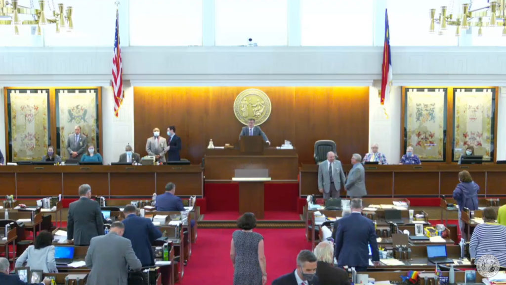 The N.C. House of Representatives conducts business on June 23, 2020. (Screen shot from N.C. General Assembly video feedl)