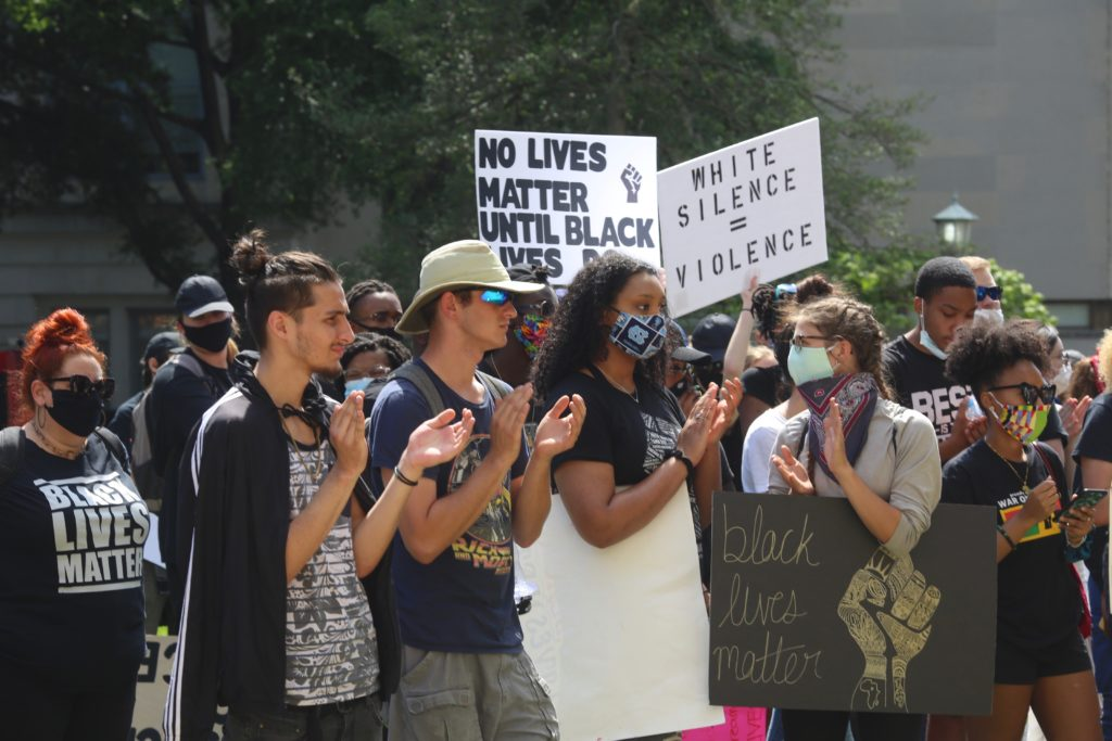 Some protesters at the June 2 demonstrations in Raleigh didn't wear masks while they weren't social distancing. (CJ photo by Don Carrington)