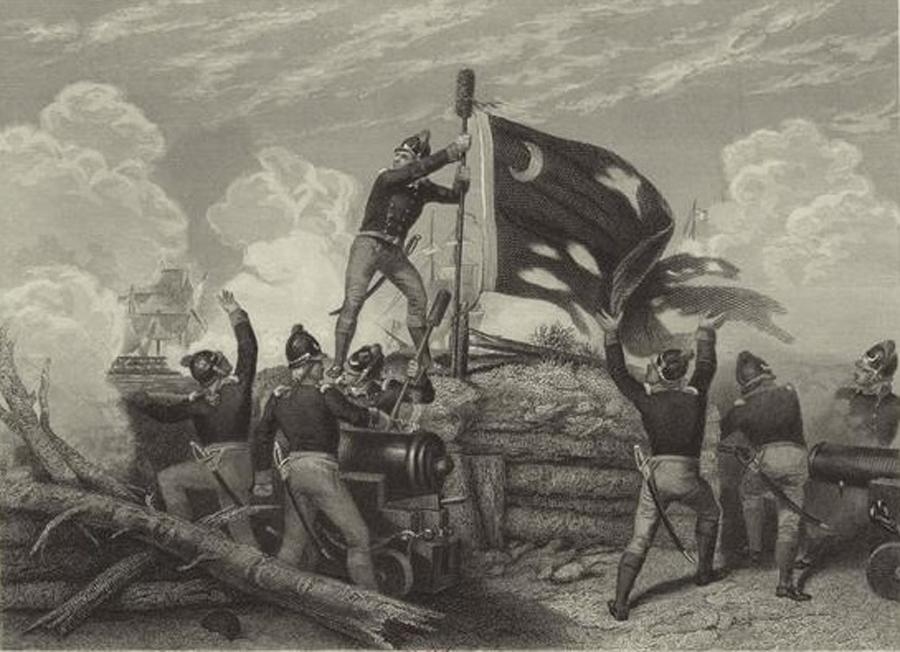 Sgt. William Jasper raises the colonial battle flag over Fort Sullivan, South Carolina, June 1776. (Painting by Johannes Oertel; image from New York Public Library digital file)