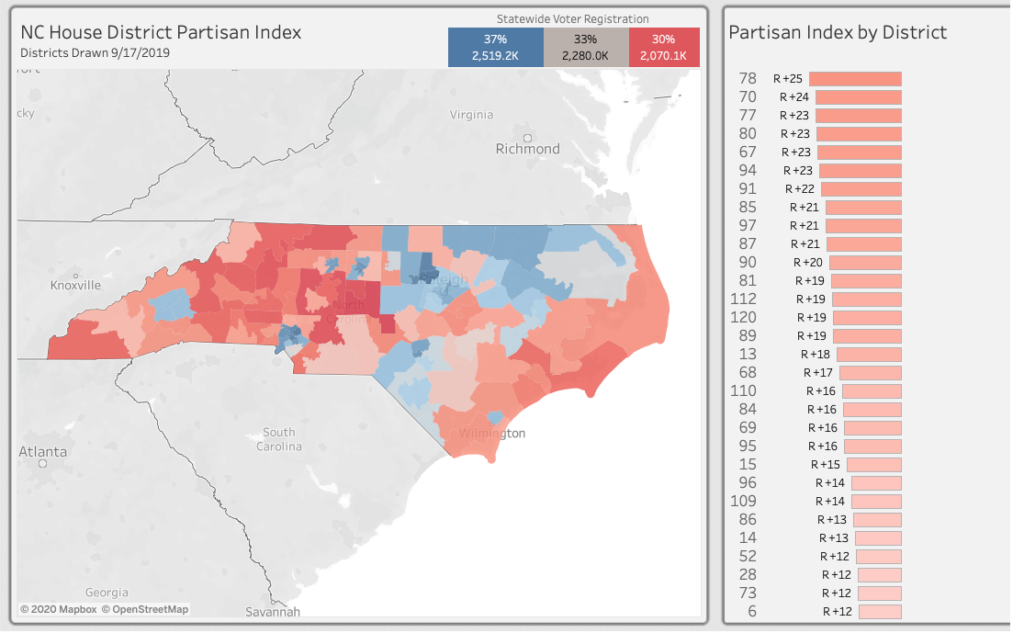 A screenshot of N.C. state House districts from the NC FREE Partisan Data Index dashboard.