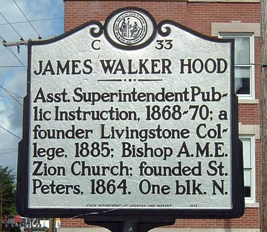 A sign at Broad and George streets in New Bern memorializes James Walker Hood. (N.C. Department of Cultural Resources)