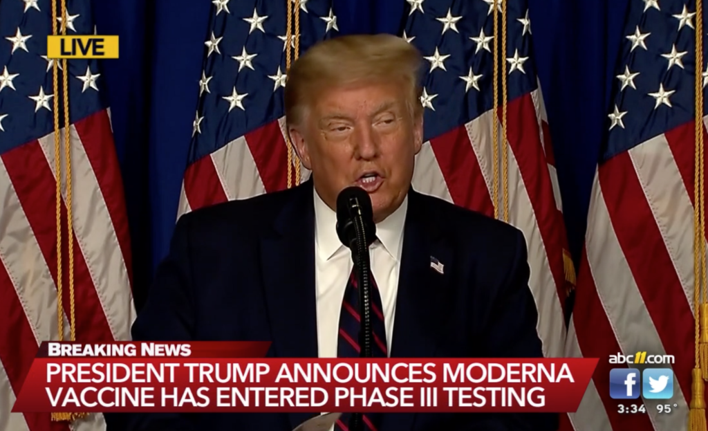 President Donald Trump addresses the media July 27, 2020 at the FUJIFILM Diosynth Biotechnologies' Innovation Center at Research Center Park. (Pool screenshot from ABC11.com)