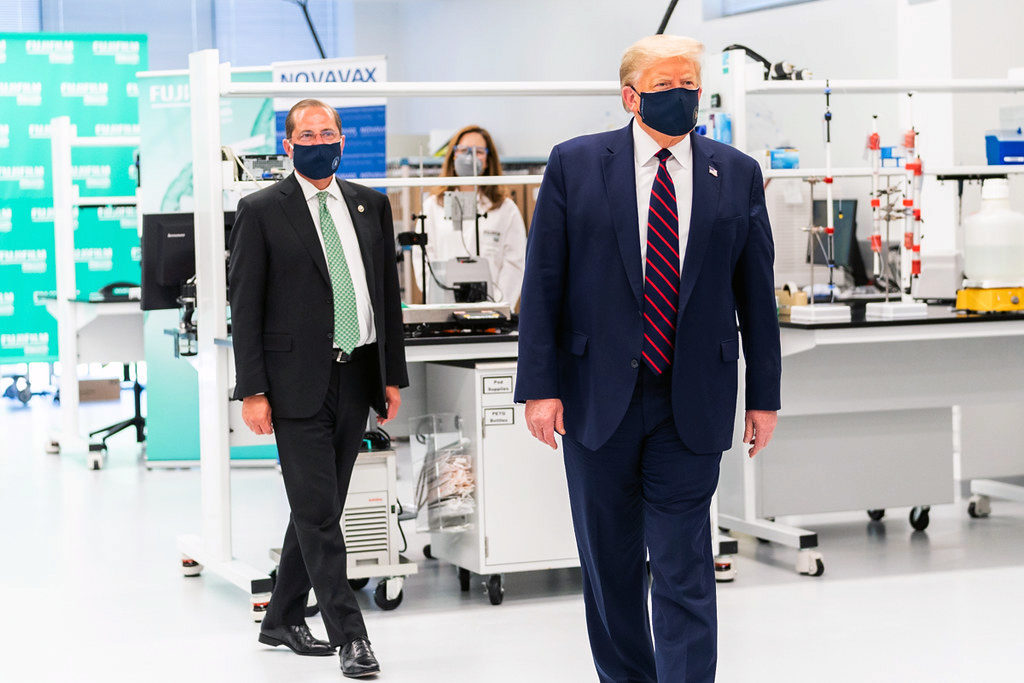 President Trump, foreground, and U.S. Health and Human Services Secretary Alex Azar visit the Fujifilm Diosynth facility in Research Triangle Park July 27, 2020. (Photo from White House Flickr account)