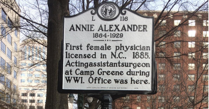 Historical marker in Charlotte commemorating Dr. Annie Alexander (N.C. Department of Cultural Resources)