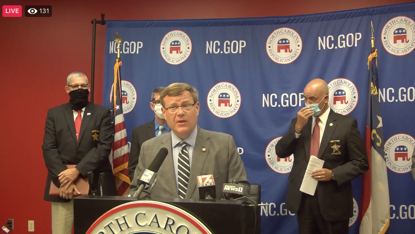 House Speaker Tim Moore, R-Cleveland, addresses a news conference Monday, Sept. 14, at N.C. GOP headquarters in Raleigh. (Screenshot from Facebook)