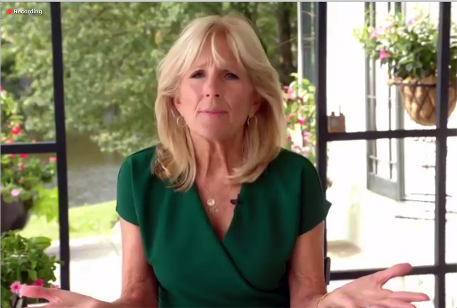 Jill Biden at a news conference Monday, Sept. 14. (Screenshot from news conference feed)