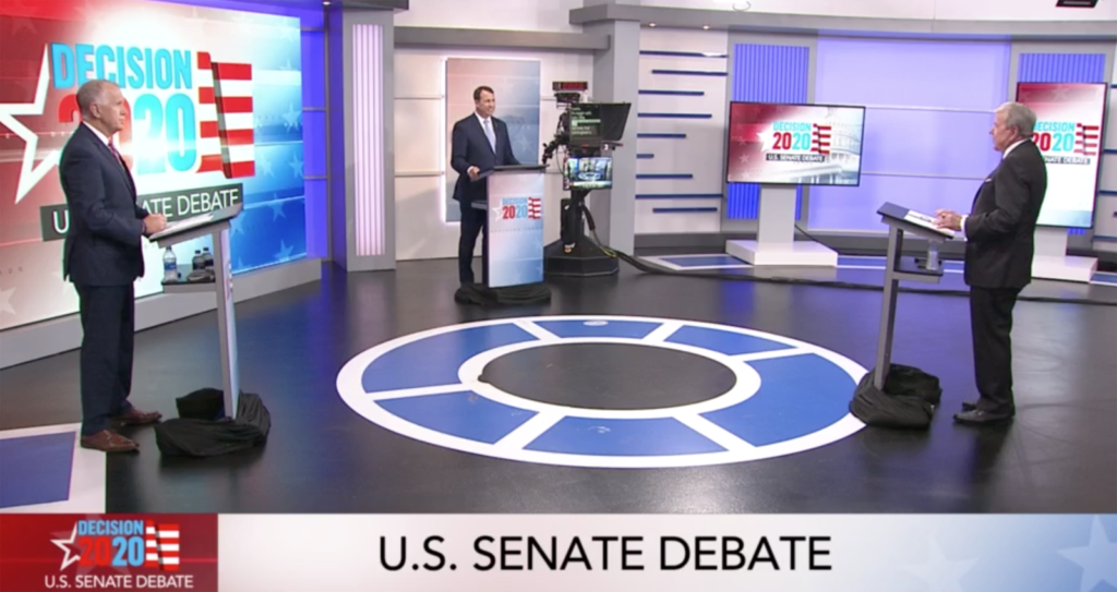 From left, U.S. Sen. Thom Tillis, R-N.C., Democrat Cal Cunningham, and moderator David Crabtree at the first Senate debate sponsored by WRAL News Sept. 14, 2020. (WRAL News screenshot)