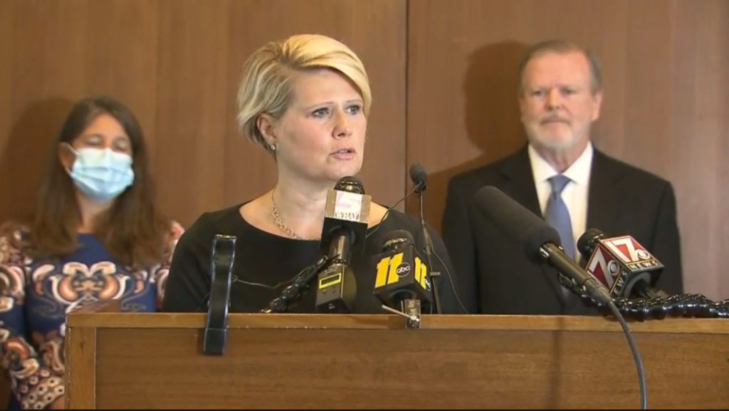 Catherine Truitt, N.C. superintendent-elect, speaks during a Sept. 16, 2020, legislative news conference. (WRAL screen shot)