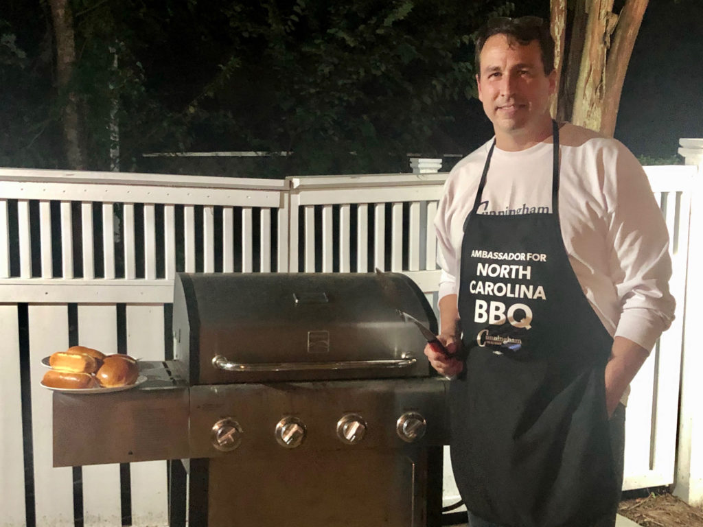 Cal Cunningham, Ambassador for North Carolina BBQ (Image from Cal Cunningham's Twitter account)
