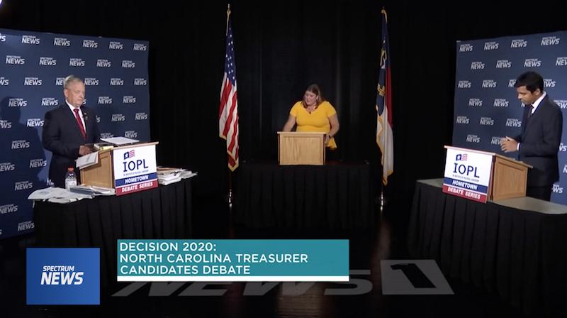 Hometown Debate Series with N.C. Treasurer Dale Folwell, left, Spectrum's Loretta Boniti, and Democrat candidate Ronnie Chatterji. (Spectrum News screenshot)