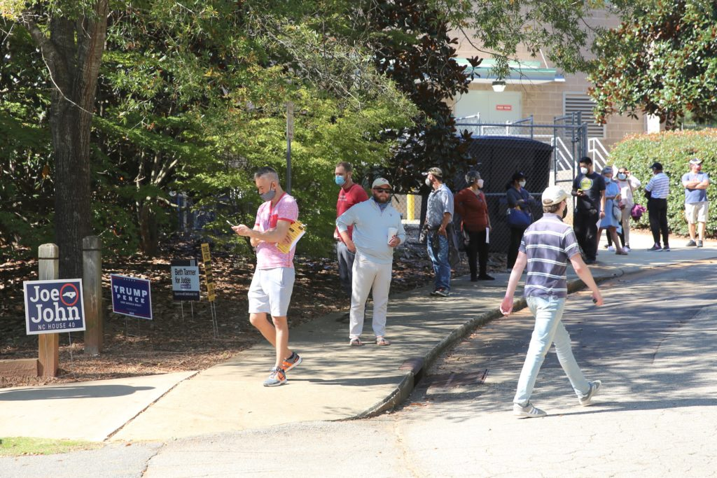 Voters line up for early voting Thursday, Oct. 16, at the Lake Lynn Community Center in Raleigh. (CJ photo by Don Carrington)