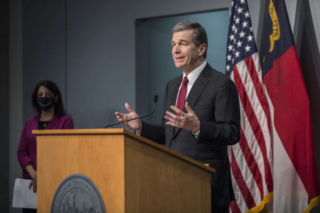 Gov. Roy Cooper, at an October 2020 COVID-19 briefing. (Pool photo)