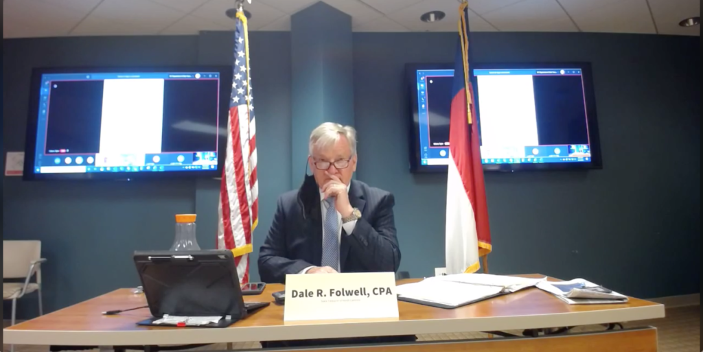 State Treasurer Dale Folwell at the August virtual Council of State meeting. (Screenshot from treasurer's Facebook page)