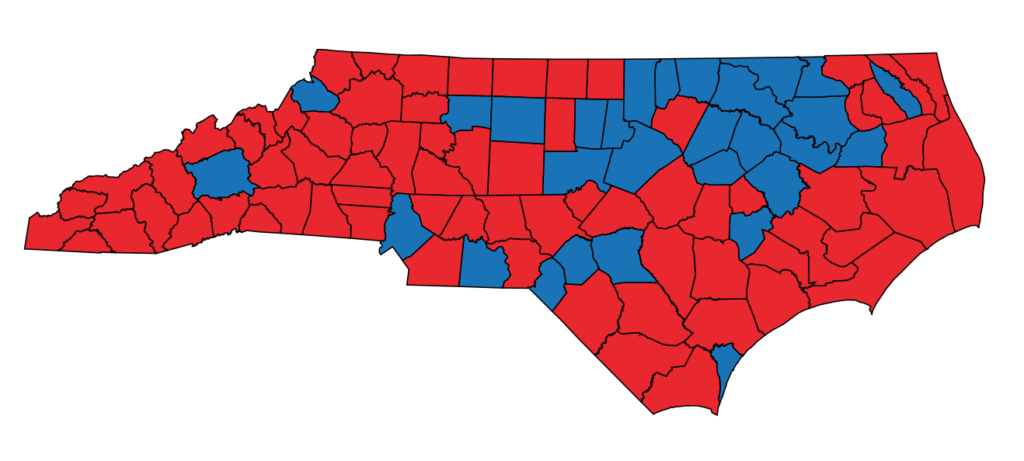 Unofficial county results, Cooper versus Forest 2020. Republican counties in red, Democratic counties in blue (State Board of Elections map)