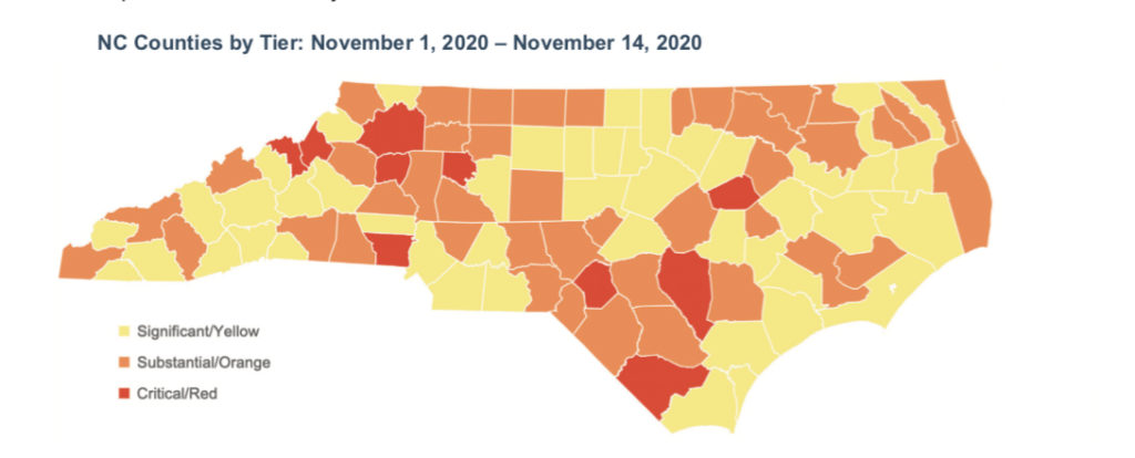 Map of N.C. counties coded by severity of COVID-19 outbreak. (NCDHHS image)