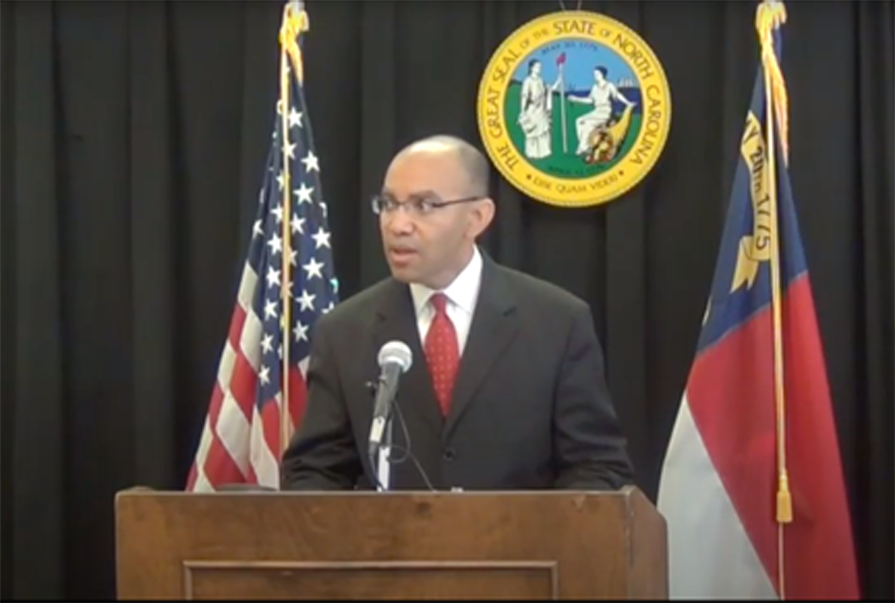 Incoming N.C. Community College System President Thomas Stith, pictured here at a news conference in 2013. (Screenshot from Gov. Pat McCrory's YouTube channel)