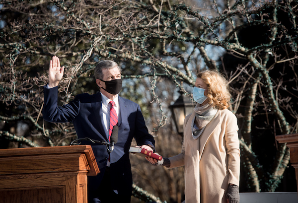 North Carolina Governor Roy Cooper takes the oath of office to be sworn in for his second term on Saturday morning. The ceremony has limited in-person attendance due to COVID-19.