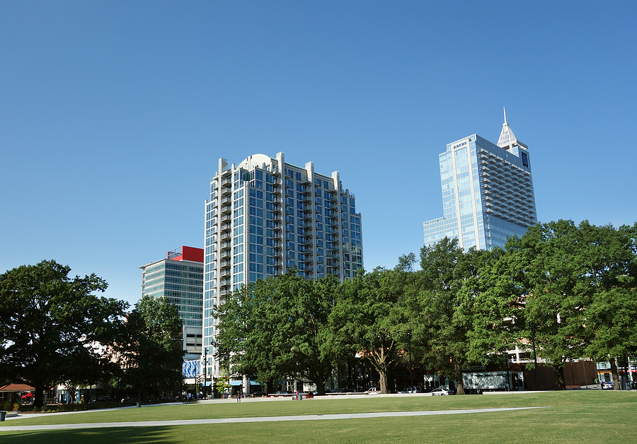 View of downtown Raleigh from Moore Square Park