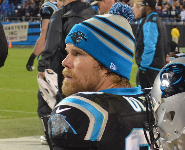 Greg Olsen, a tight end who spent nine seasons with the Carolina Panthers, is an advocate for reopening schools. (U.S. Army National Guard Photo by Sgt. Leticia Samuels)